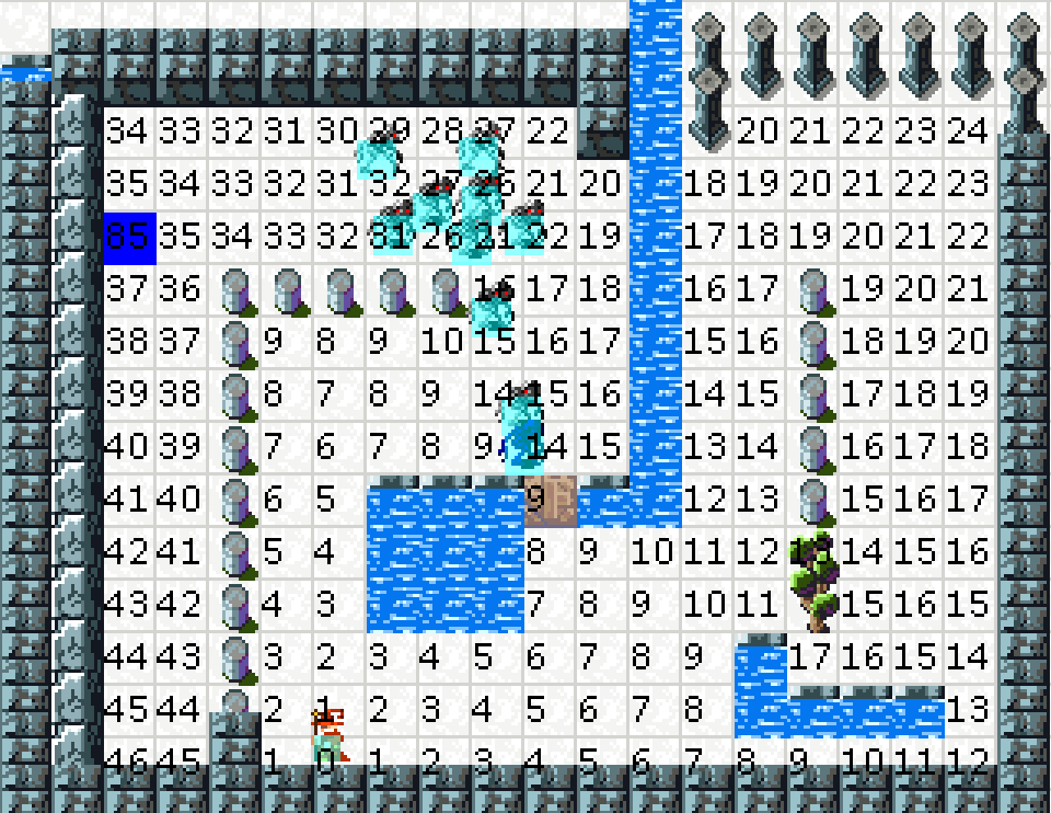 Numbers are node weights. Shortest path to summoner is as easy as picking the lowest number in the squares adjacent to you.