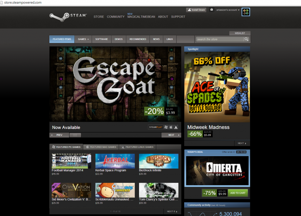 Steam front page